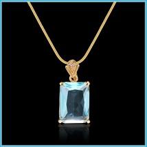 Aqua Blue Rectangle Emerald Cut Gem Stone Pendant 18K Gold Plated Chain Necklace image 3