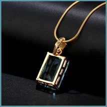 Aqua Blue Rectangle Emerald Cut Gem Stone Pendant 18K Gold Plated Chain Necklace image 4