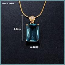 Aqua Blue Rectangle Emerald Cut Gem Stone Pendant 18K Gold Plated Chain Necklace image 5