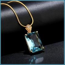 Aqua Blue Rectangle Emerald Cut Gem Stone Pendant 18K Gold Plated Chain Necklace image 6