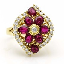 Ruby Flower Ring with Diamonds in 18k Yellow Gold - $2,673.00