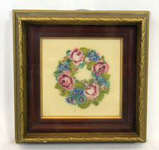 Vintage Antique Frame Finished Petit Point Pink Blue Floral Roses Wreath... - $22.56