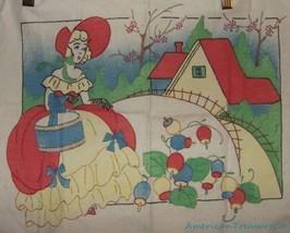 Vintage Needlepoint 15x12 Hoop Skirt Crinoline Lady On Printed Linen w/F... - $48.28