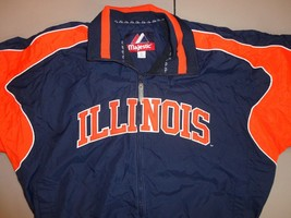 Rare Blue Orange Sewn Majestic Illinois Fighting Illini Ncaa Dugout Jacket Men L - $56.07