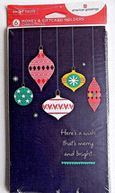 Christmas Ornaments 6 Money Gift Card Holders & Envelopes - $3.99