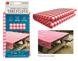 Vintage Red Checkered Pattern Vinyl Tablecloth ... - $13.99