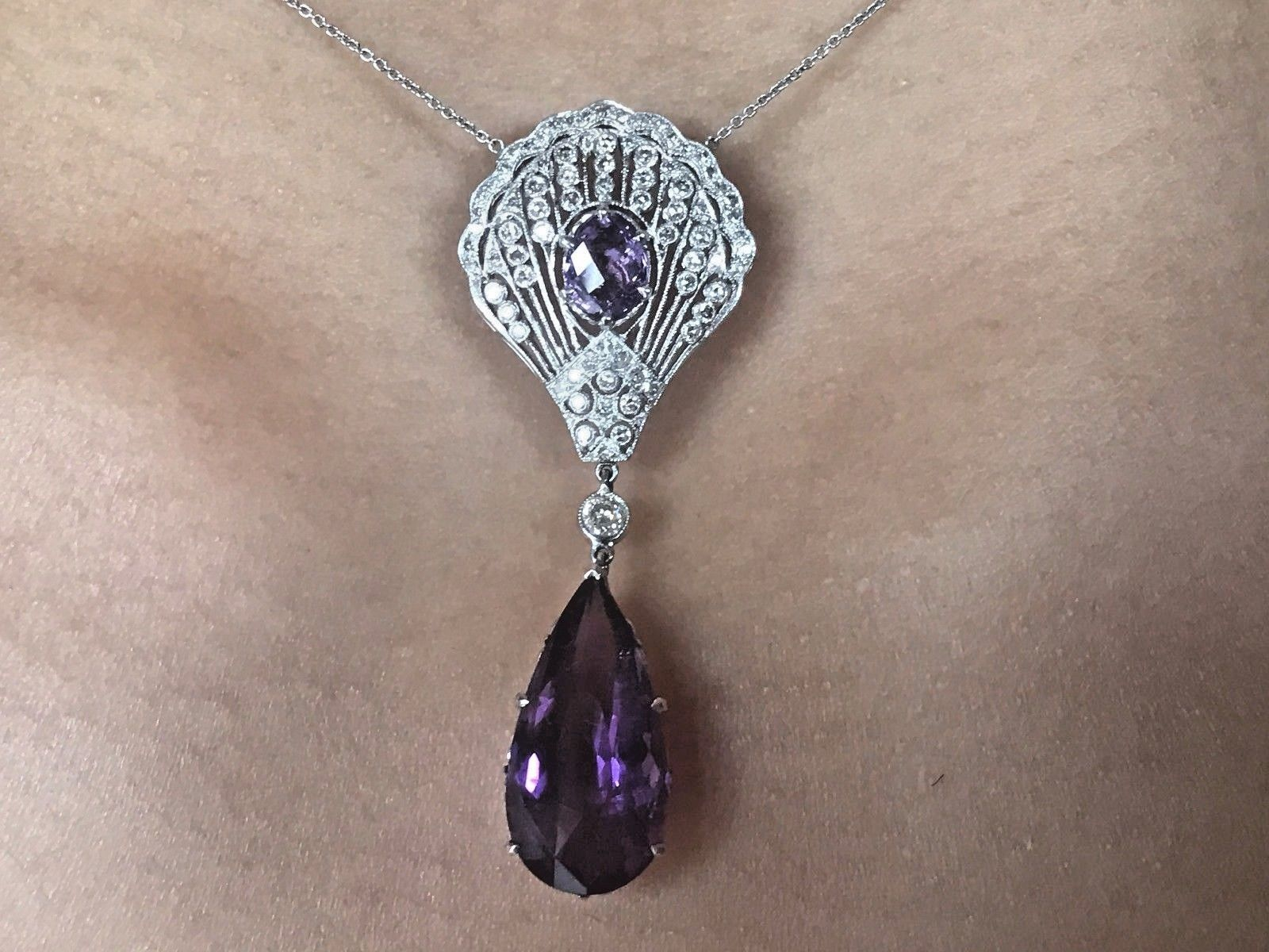 Elegant Huge Estate 18k white gold Natural Amethyst & Diamond necklace 16+inch