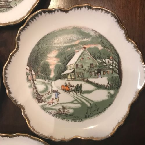 "Lot Of 4 Vintage Scenery Currier & Ives 6"" Plates Saucers Plate"
