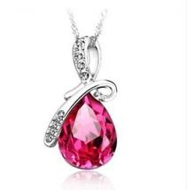 Pink Topaz Pear Shaped Swarovski Crystal Pendant Necklace 18K White Gold Plated - $15.83