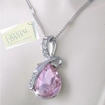 LT Pink Topaz Pear Shaped Swarovski Crystal Pendant Necklace 18K White Gold Pltd - $15.83