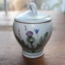 Vtg Buchan Portobello Scotland Mustard Condiment Jar Thistleware Blue Fl... - $18.68
