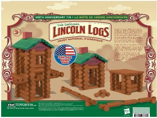 New Lincoln Logs - 100th Anniversary Tin - 111 All Wood Pieces