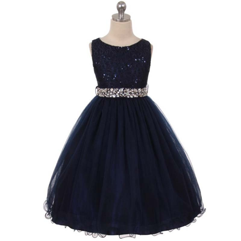 Navy Blue Sequin Bodice Double Layers Tulle Skirt Rhinestones Flower Girl Dress for sale  USA