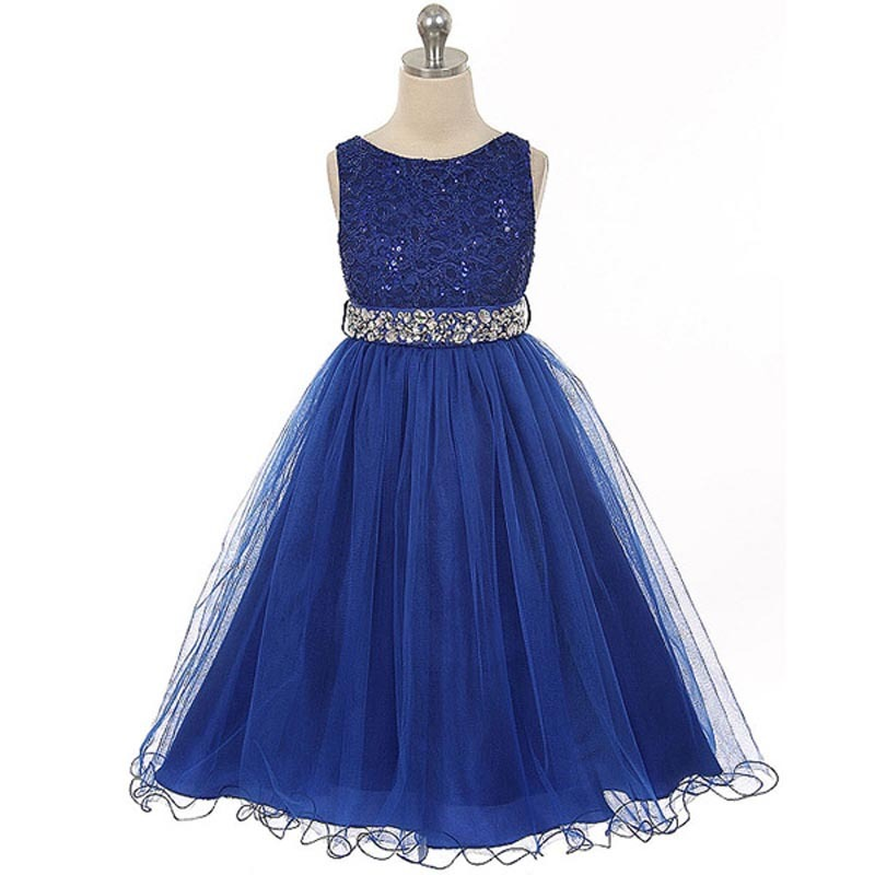 Royal Blue Sequin Bodice Double Layers Tulle Skirt Rhinestones Flower Girl Dress for sale  USA