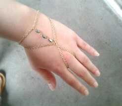 Boho Slave Bracelet Gem Hand Chain Rare Antique Gem Hand Chain Blue Gem ... - $67.00