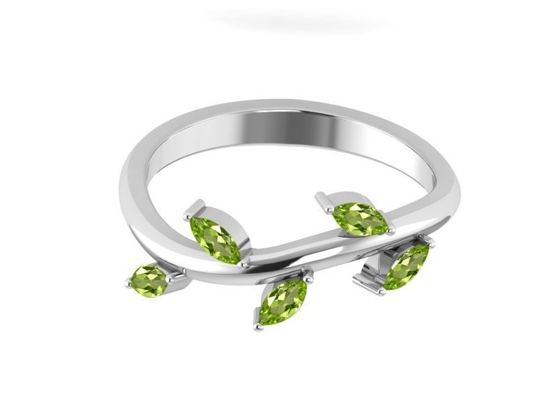 Peridot Gemstone Leaf Solid 925 Sterling Silver Ring Jewelry Sz 6 SHRI01272