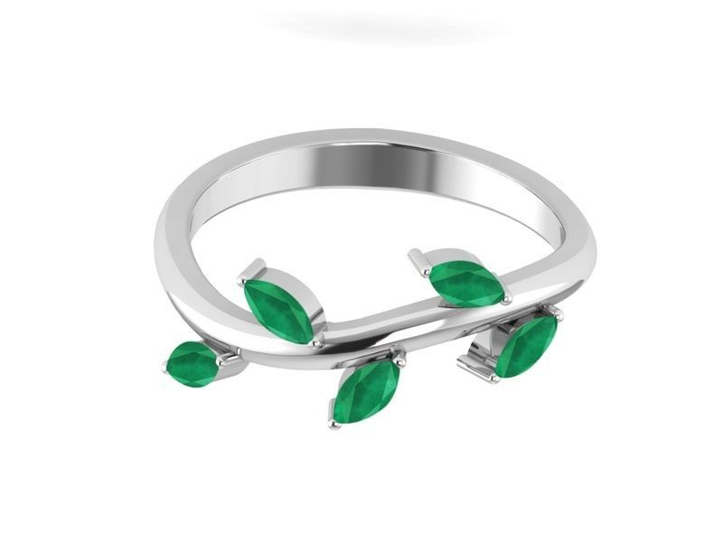 925 Sterling Silver Leaf Jewelry Ring  For Women In Royal Emerald Sz 7 SHRI01283