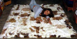 Baby alpaca fur carpet , brown and white spots, 300 x 280 cm/ 9'84 x 9'18 - $2,204.00