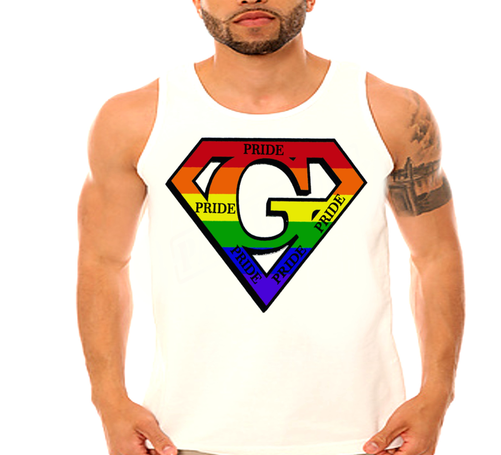 2a0bbfe7422c1c ... Pride Rainbow LGBT Men s Tank and 50 similar items. Pride2 white tank