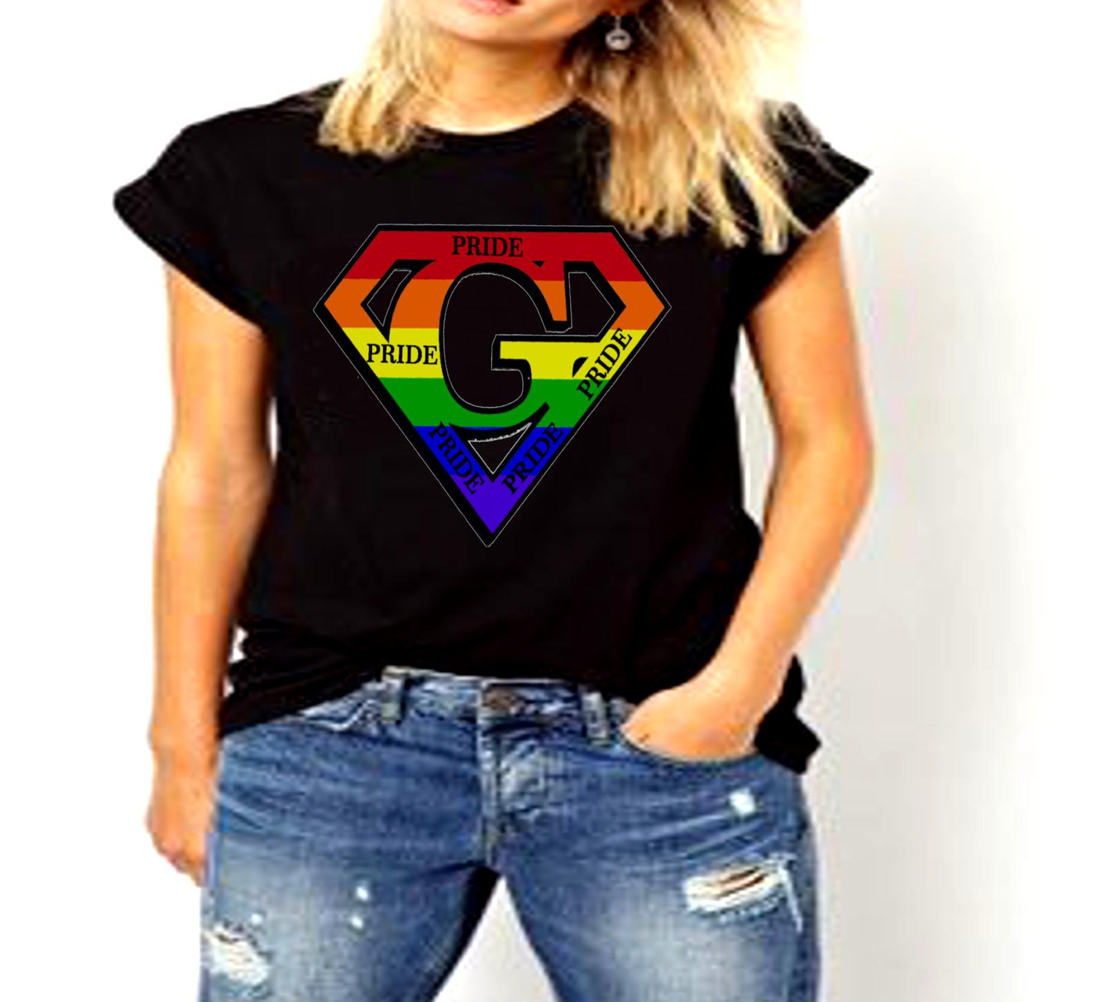 "Super ""G"" Logo Pride Rainbow LGBT Ladies T-Shirt for sale  USA"