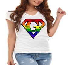 "Super ""G"" Logo Pride Rainbow LGBT Ladies V-Neck T-Shirt - $12.00"