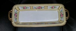 "Handpainted Nippon Dish Circa 1911 Floral Japan Roses Approx 12-1/2"" Long - $50.00"