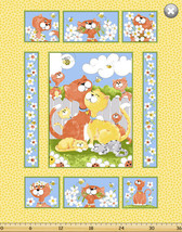 Susybee's Purrl, the Cat quilt Top Yellow 100% cotton fabric by the panel - $9.72