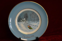 Christmas Plate Series 1976 Bringing Home the Tree Avon Wedgwood Made in... - $6.93