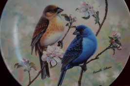 INDIGO BUNTINGS & SPRING BLOSSOMS Bird Plate Co... - $14.36