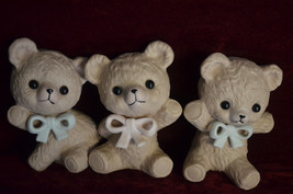NICE VINTAGE 1980's LOT OF THREE SMALL PORCELAIN BEAR FIGURINES UNIQUE 3... - $9.41