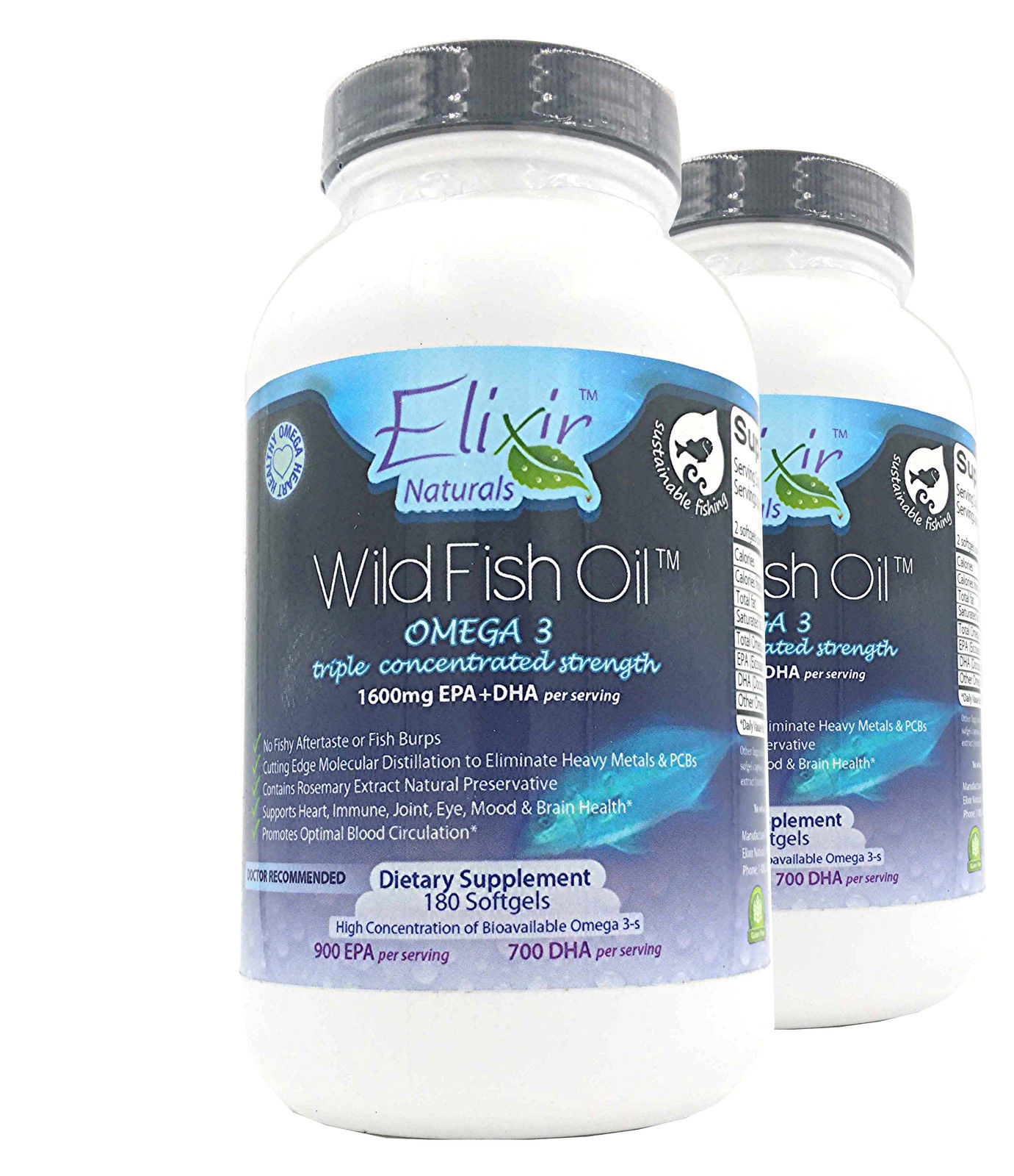 Omega 3 Wild Fish Oil Gelcaps 90 Day Supply 2 Pack!! by Elixir Naturals