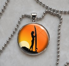 Surfer Sunset Woman Girl Surf Board Pendant Necklace - $14.85+