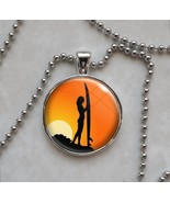 Surfer Sunset Woman Girl Surf Board Pendant Necklace - $14.85 - $18.81