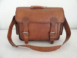 "17"" Real Brown Leather Briefcase Macbook Laptop Satchel Office MENS BAG EDH - $72.01"