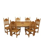 Rustic Star Rope Dining Room Set Western Cabin Lodge Real Solid Wood - $1,876.05