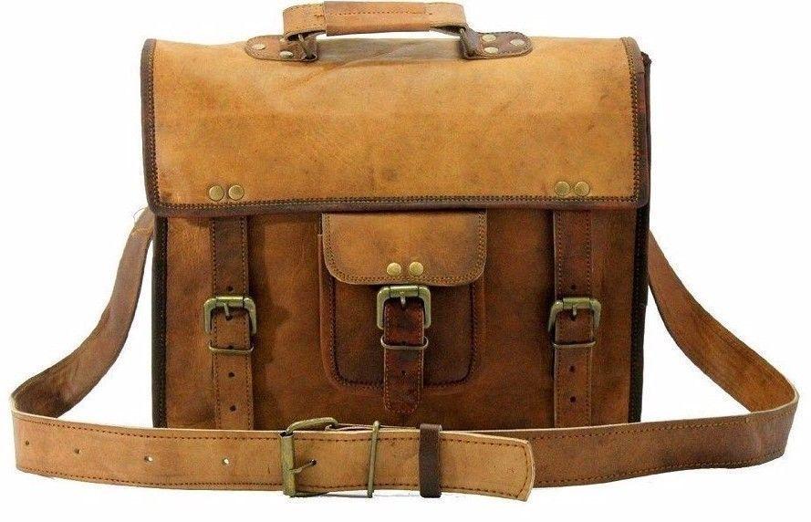 """Leather Messenger Bag 15"""" Vintage Brown Satchel Shoulder Laptop Briefcase Bag"""