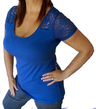 Sexy Blue Short Lace Sleeve Deep Low Cut Stretchy Womens Plus Shirt Top ... - $17.99