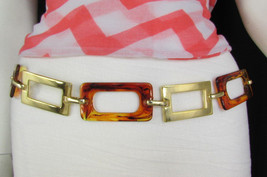 New Women Big Gold Metal Plates Chains Brown Squares Bar Fashion Belt Hip Waist - $9.99