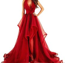 Fanmu V Neck A Line Organza Prom Dresses Evening Gowns Red US 10 - $149.99