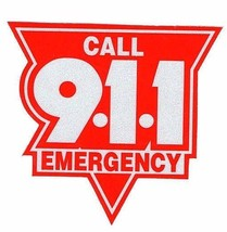 """Emergency Call 911 Highly Reflective Vehicle Decal 4"""" Red And Silver Call 911 - $5.89"""