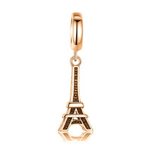 10K Yellow GOLD Handmade Eiffel Tower CZ Charm Fits EUROPEAN BRACELETS Bead - $91.63