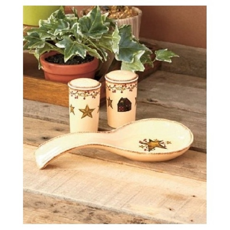 Country Hearts n Stars Tabletop Spoon Holder w/ S & P Shaker 6 Pc Utensil Crock