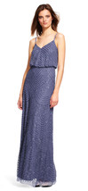 Adrianna Papell New Womens Dark Heather Art Deco Beaded Blouson Gown   14   $300 - $193.05