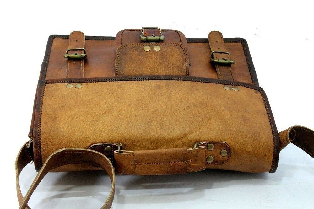 """Leather Messenger Bag 15"""" Vintage Brown Satchel Shoulder Laptop Briefcase Bag image 2"""