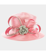 Derby Church Pink Crystal Rose & Feather Satin Hat with Curly Bow 321277 - $31.50