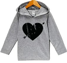Custom Party Shop Baby's Black Heart Valentine's Day Hoodie 6 Months Grey - $22.05