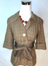 Tracy Reese New York Brown Cropped Belted Jacke... - $36.45