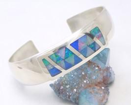 Sterling Silver Opal Gemstone Inlay Cuff Bracelet Mosaic Blue Green Jay ... - $159.00