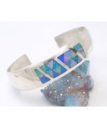 Sterling Silver Opal Gemstone Inlay Cuff Bracelet Mosaic Blue Green Jay ... - $159.00