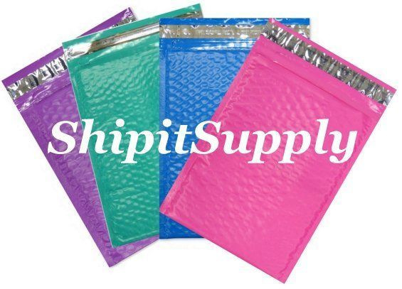 4-600 #000 4X8 Poly ( Blue Pink Purple Teal ) Mix Color Bubble Mailers 1-150 ea